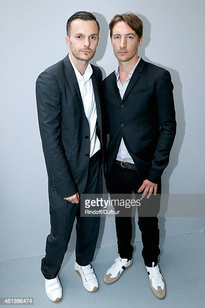 Fashion designer Kris Van Assche poses backstage with Benn Northover after the Dior Homme show as part of the Paris Fashion Week Menswear...