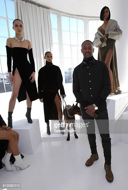 Fashion designer LaQuan Smith and models pose during SheaMoisture at Laquan Smith F/W 2016 NYFW at Jack Studios on February 14 2016 in New York City