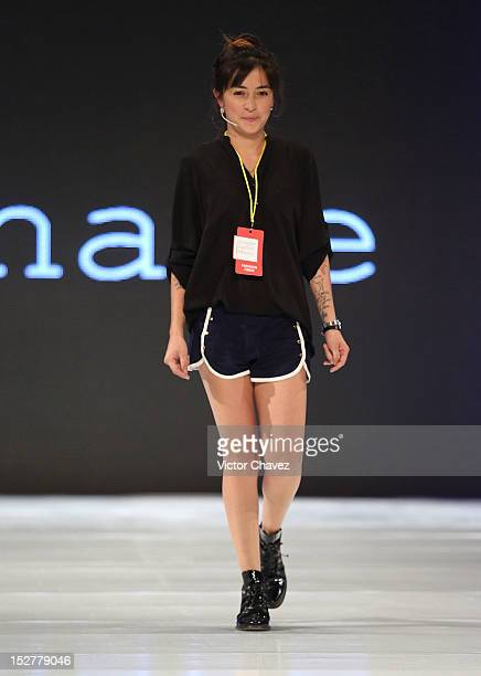 Fashion designer Laura Carrillo walks the runway during the first day of Google Fashion Mexico at Estudios Churubusco on September 25 2012 in Mexico...