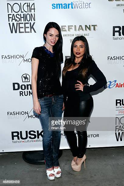 Fashion designer Leka and Jessenia Vice attend the Leka show during Nolcha Fashion Week New York Fall/Winter 2014 presented by RUSK at Pier 59 on...
