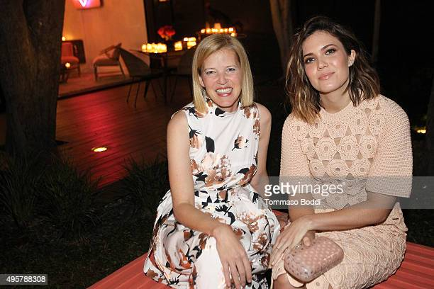 Fashion designer Lela Rose and actress Mandy Moore attend the Lela Rose Los Angeles Dinner on November 4 2015 in Los Angeles California