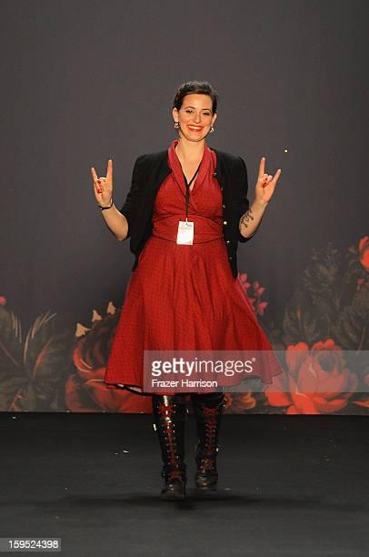 Fashion designer Lena Hoschek after her show on the runway at Lena Hoschek Autumn/Winter 2013/14 fashion show during MercedesBenz Fashion Week Berlin...