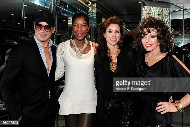 Fashion designer Lloyd Klein singer Natalie Cole jewelry designer Angela TassoniNewley and actress Joan Collins pose at 'A Parisian Afternoon' hosted...