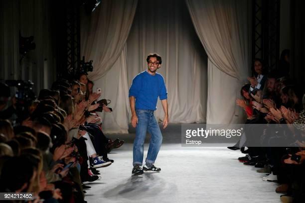 Fashion designer Lorenzo Serafini at the Philosophy Di Lorenzo Serafini show during Milan Fashion Week Fall/Winter 2018/19 on February 24 2018 in...