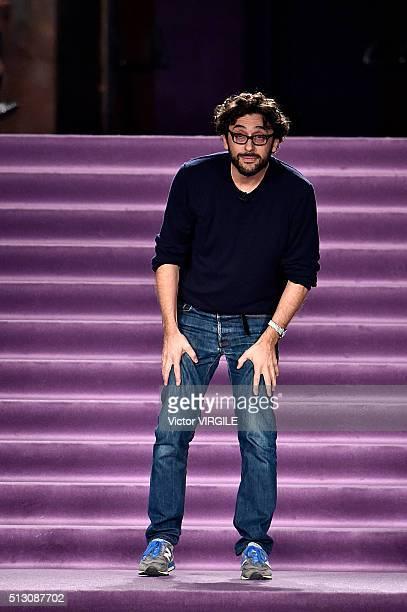 Fashion designer Lorenzo Serafini walks the runway at the Philosophy di Lorenzo Serafini fashion show during Milan Fashion Week Fall/Winter 2016/2017...