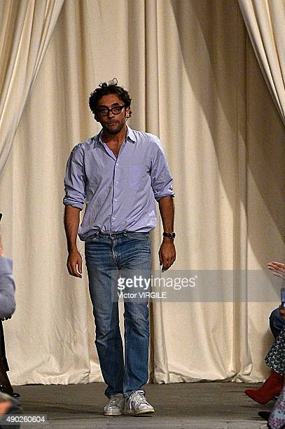 Fashion designer Lorenzo Serafini walks the runway during the Philosophy di Lorenzo Serafini fashion show as part of Milan Fashion Week Spring/Summer...