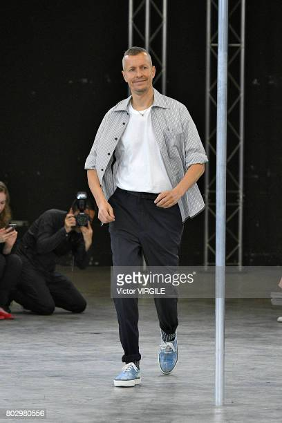 Fashion designer Lucas Ossendrijver walks the runway during the Lanvin Menswear Spring/Summer 2018 show as part of Paris Fashion Week on June 25 2017...