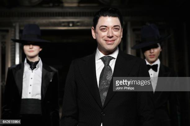 Fashion designer Malan Breton on the runway after his show at Fashion Scout during the London Fashion Week February 2017 collections on February 18...