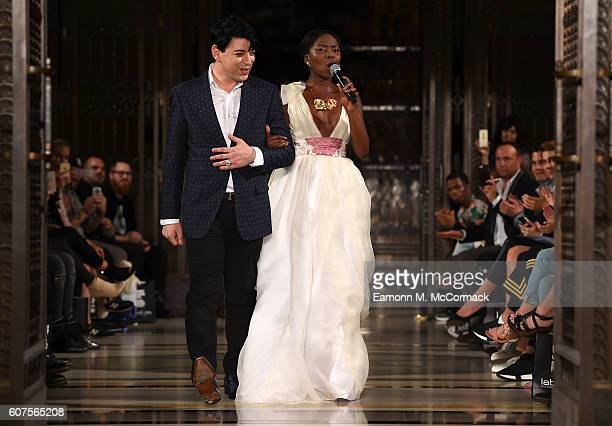 Fashion designer Malan Breton on the runway with a singer after his show at Fashion Scout during London Fashion Week Spring/Summer collections 2017...