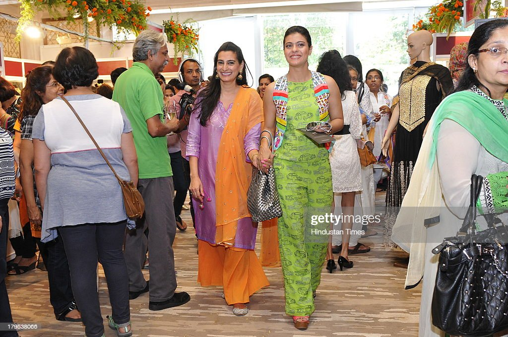 Fashion designer Mana Shetty with Bollywood actor Kajol Devgn during Trousseau Araaish a fund raising showcase to Save The Children India at Four...