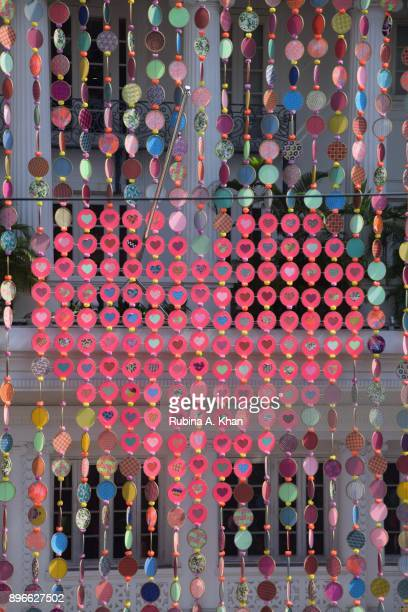 Fashion designer Manish Arora's art installation All We Need Is Love using 35 artisans and more than 2400 pieces of Indian fabrics handembroidered...