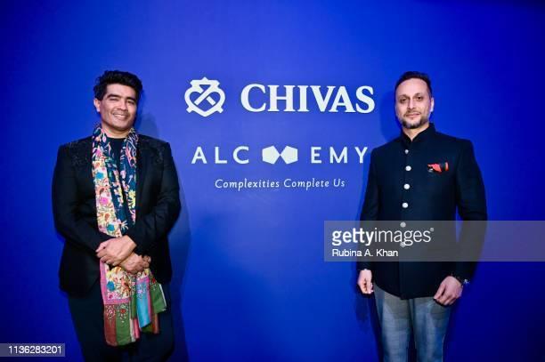 Fashion designer Manish Malhotra and Pulkith Modi of Chivas India attend the third edition of Chivas 18 Alchemy 2019 on March 16 2019 in New Delhi...