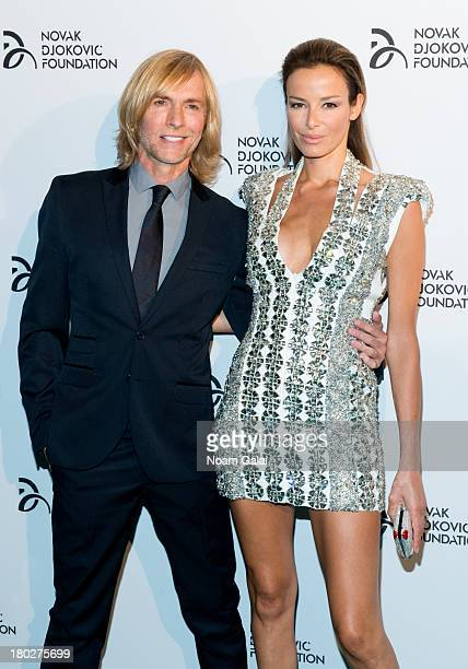 Fashion designer Marc Bouwer and model Carolina Parsons attend the The 2013 Novak Djokovic Foundation Dinner at Capitale on September 10, 2013 in New...