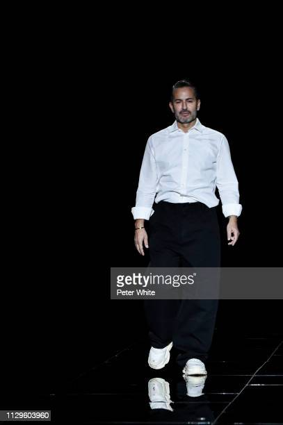 Fashion designer Marc Jacobs acknowledges the audience during the Marc Jacobs fashion show as part of New York Fashion Week on February 13, 2019 in...