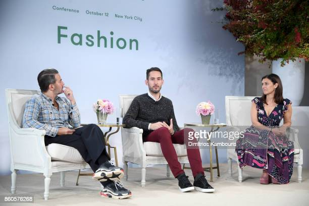 Fashion designer Marc Jacobs Instagram cofounder Kevin Systrom and Vogue's Creative Digital Director Sally Singer speak onstage during Vogue's Forces...