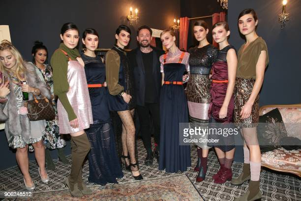 Fashion designer Marcel Ostertag and Models during the Marcel Ostertag Fashion Presentation at Schlueter Palais on January 17 2018 in Berlin Germany
