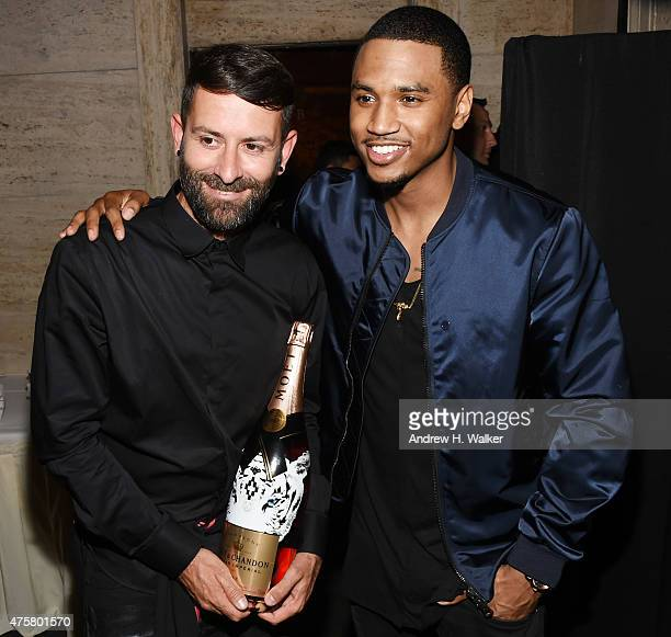 Fashion designer Marcelo Burlon and singersongwriter Trey Songz attend the Moet Nectar Imperial Rose x Marcelo Burlon Launch Event on June 3 2015 in...