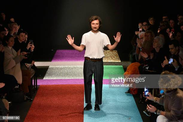 Fashion designer Marco De Vincenzo walks the runway at the Marco de Vincenzo Ready to Wear Fall/Winter 20182019 fashion show during Milan Fashion...