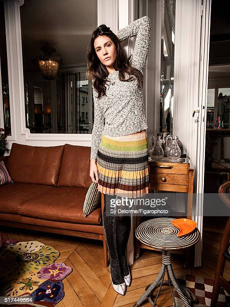 Fashion designer Margherita Missoni is photographed for Madame Figaro on January 27 2016 in Paris France Sweater skirt shoes tights jewelry personal...