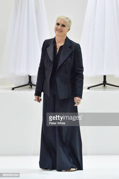 Fashion designer Maria Grazia Chiuri acknowledges the audience during the Christian Dior Haute Couture Fall Winter 2018/2019 show as part of Paris...
