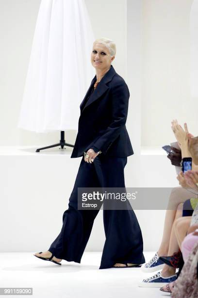 Fashion designer Maria Grazia Chiuri during the Christian Dior Haute Couture Fall Winter 2018/2019 show as part of Paris Fashion Week on July 2 2018...