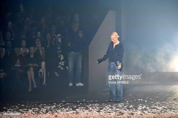 Fashion designer Maria Grazia Chiuri walks the runway during the Christian Dior Ready to Wear fashio show as part of the Paris Fashion Week...