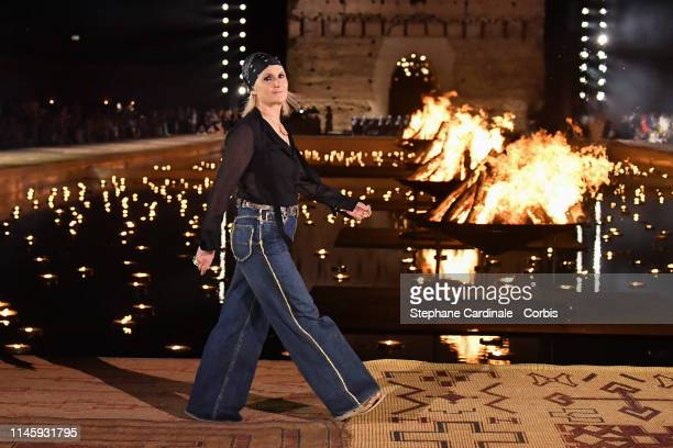 Fashion designer Maria Grazia Chiuri walks the runway during the Christian Dior Couture S/S20 Cruise Collection on April 29 2019 in Marrakech Morocco