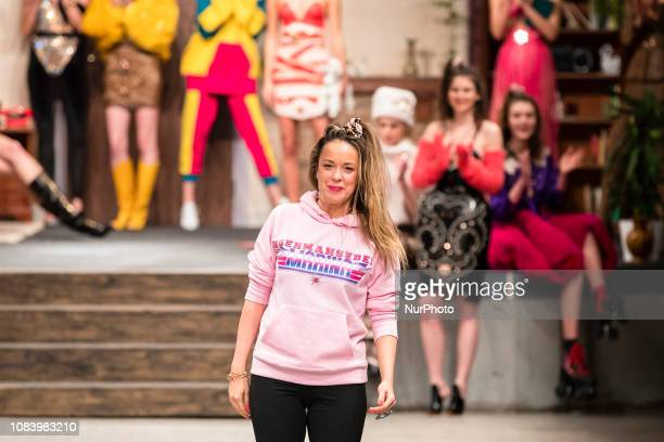 Fashion Designer Marina Hoermanseder acknowledges the applause of the guests at the end of Marina Hoermanseder Fashion Show during Fashion Week...