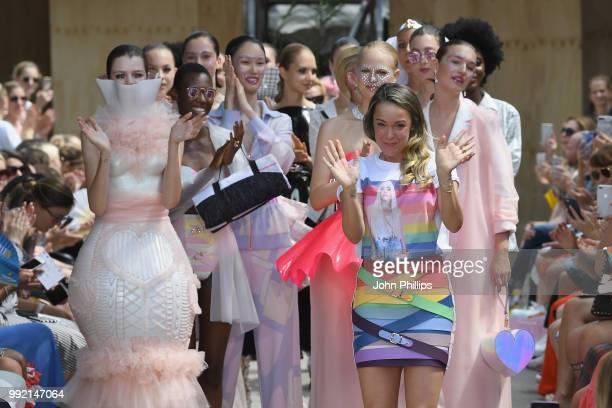 Fashion designer Marina Hoermanseder after her show during the Berlin Fashion Week Spring/Summer 2019 at ewerk on July 5, 2018 in Berlin, Germany.