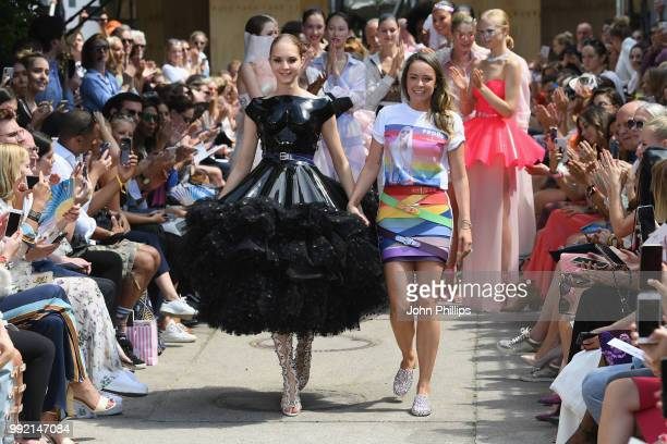 Fashion designer Marina Hoermanseder after her show during the Berlin Fashion Week Spring/Summer 2019 at ewerk on July 5 2018 in Berlin Germany
