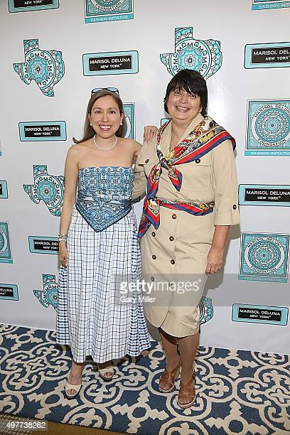 Fashion designer Marisol Deluna and Foundation Director of Education Ida De La Rosa Spence pose on the red carpet as Marisol Deluna New York...
