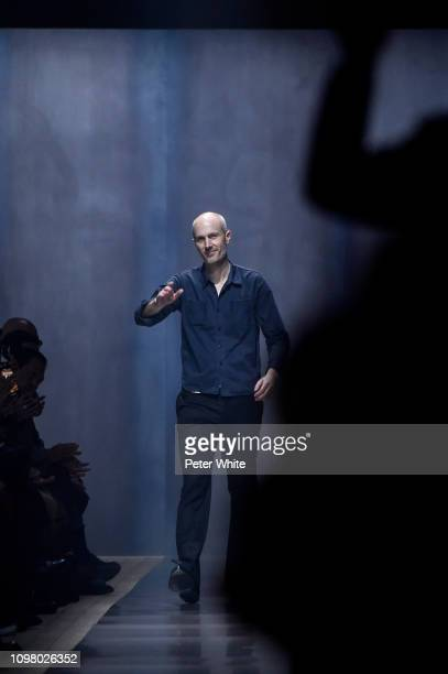 Fashion designer Mark Weston walks the runway during the finale of Dunhill London Menswear Fall/Winter 20192020 show as part of Paris Fashion Week on...