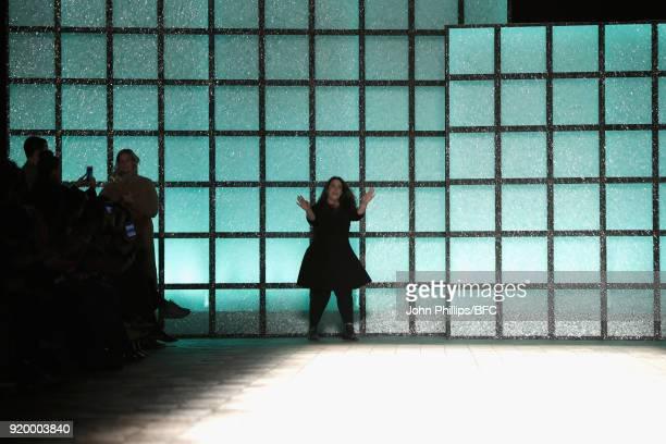 Fashion designer Mary Katrantzou is seen on the runway at the Mary Katrantzou show during London Fashion Week February 2018 on February 18 2018 in...