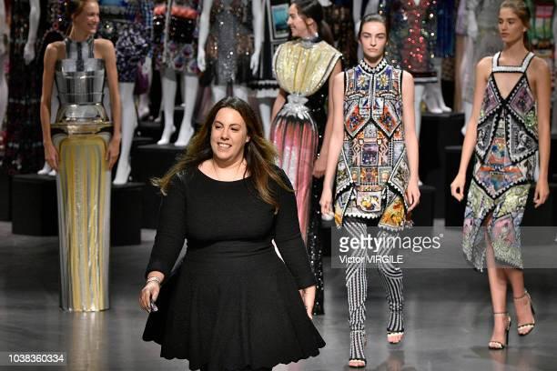 Fashion designer Mary Katrantzou walks the runway at the Mary Katrantzou Ready to Wear Spring/Summer 2019 fashion show during London Fashion Week...