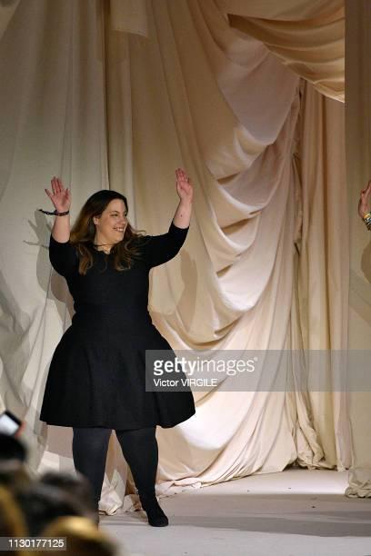 Fashion designer Mary Katrantzou walks the runway at the Mary Katrantzou Ready to Wear Fall/Winter 20192020 fashion show during London Fashion Week...