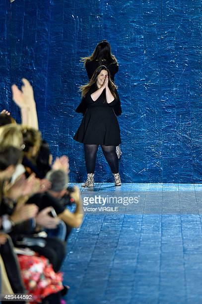 Fashion designer Mary Katrantzou walks the runway at the Mary Katrantzou Ready to Wear show during London Fashion Week Spring/Summer 2016 on...