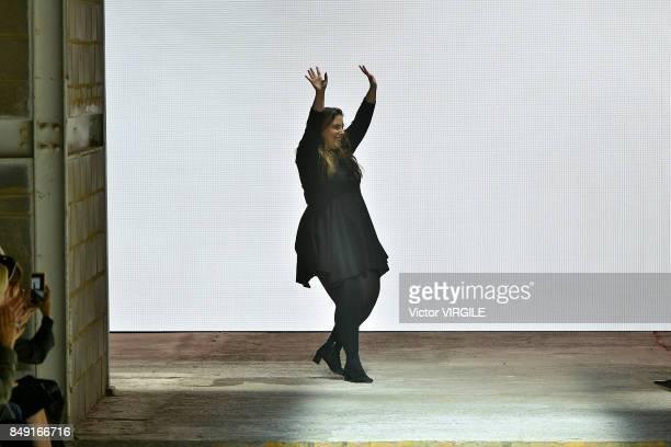 Fashion designer Mary Katrantzou walks the runway at the Mary Katrantzou Ready to Wear Spring/Summer 2018 fashion show during London Fashion Week...