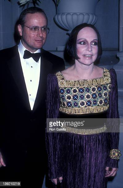 Fashion Designer Mary McFadden and date Victor Shafferman attend 35th Annual April In Paris Ball on October 24 1986 at the Waldorf Hotel in New York...