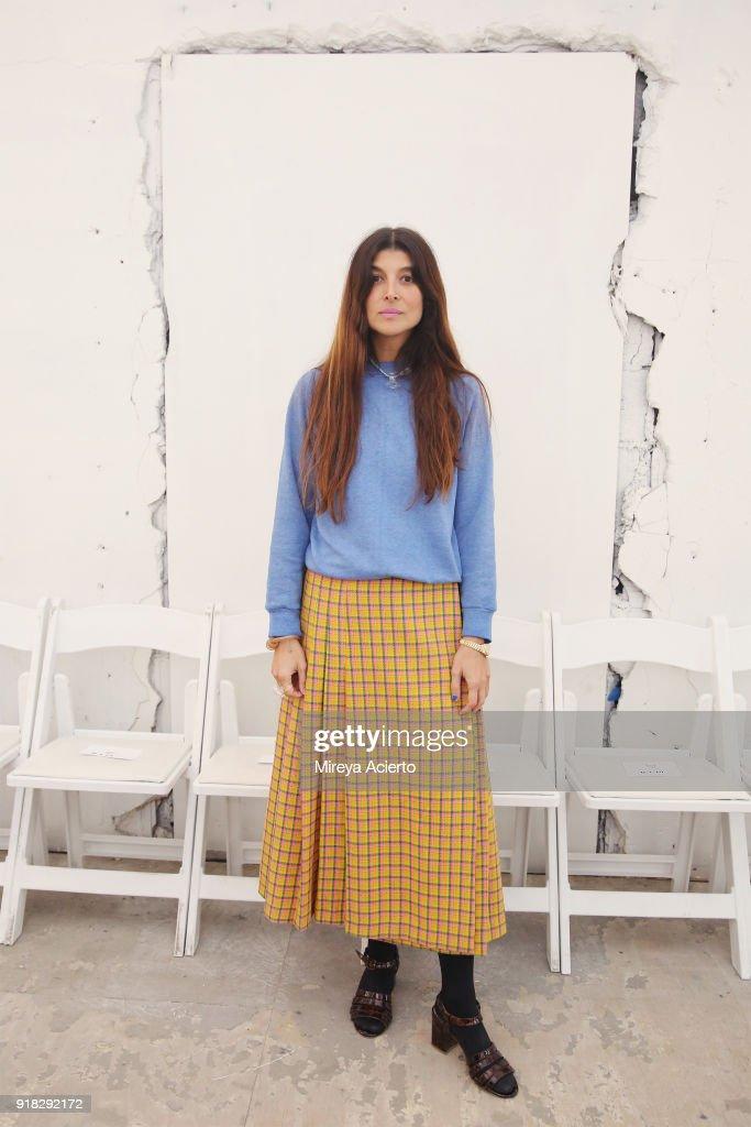Fashion designer Maryam Nassir Zadeh poses backstage at the Maryam Nassir Zadeh fashion show during New York Fashion Week on February 14, 2018 in New York City.