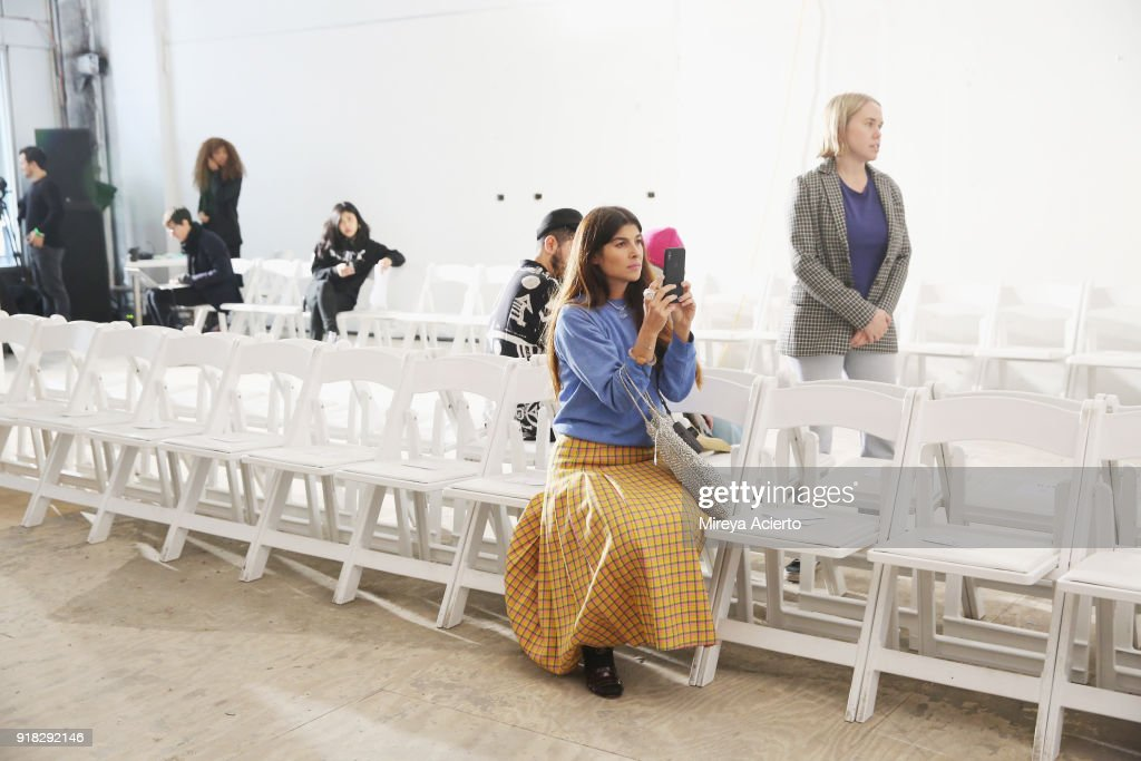 Fashion designer Maryam Nassir Zadeh, watches rehearsal before at the Maryam Nassir Zadeh fashion show during New York Fashion Week on February 14, 2018 in New York City.
