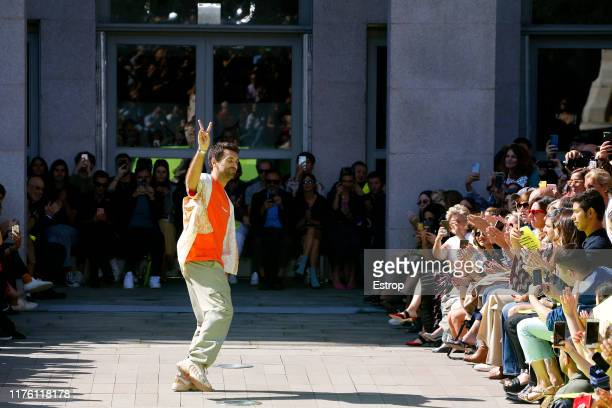 Fashion designer Massimo Giorgetti on the runway at the MSGM show during MIlan Fashion Week September 2019 at Italy on September 21, 2019 in Milan,...