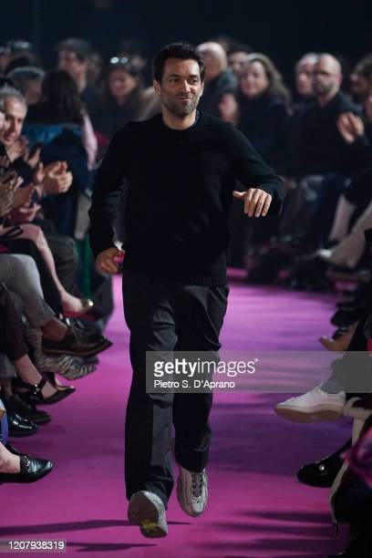 Fashion designer Massimo Giorgetti on the runway during the MSGM fashion show as part of Milan Fashion Week Fall/Winter 2020-2021 on February 22,...