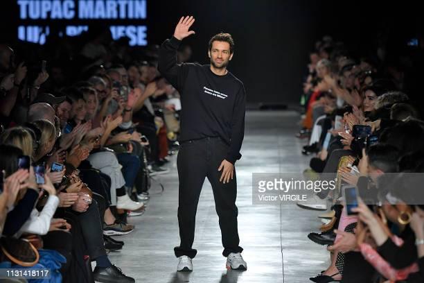 Fashion designer Massimo Giorgetti walks the runway at the MSGM eady to Wear Fall/Winter 2019-2020 fashion show at Milan Fashion Week Autumn/Winter...