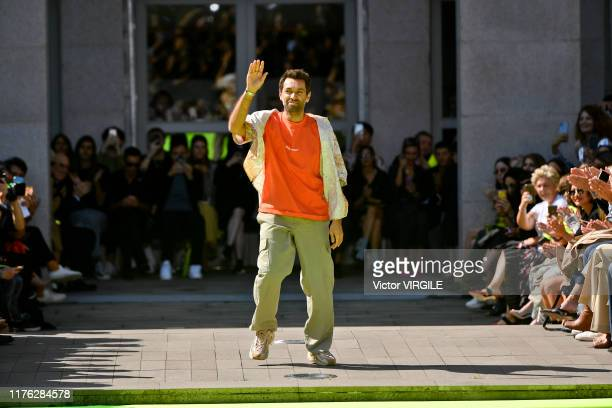 Fashion designer Massimo Giorgetti walks the runway at the MSGM Ready to Wear fashion show during the Milan Fashion Week Spring/Summer 2020 on...