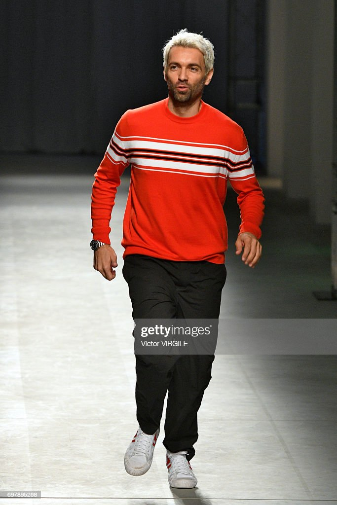 Fashion designer Massimo Giorgetti walks the runway at the MSGM show during Milan Men's Fashion Week Spring/Summer 2018 on June 18, 2017 in Milan, Italy.