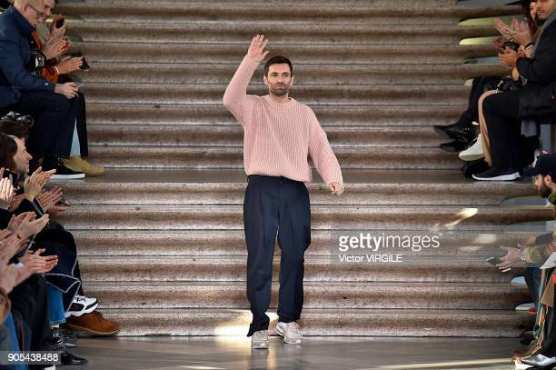 Fashion designer Massimo Giorgetti walks the runway at the MSGm show during Milan Men's Fashion Week Fall/Winter 2018/19 on January 14 2018 in Milan...