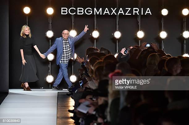 Fashion designer Max Azria and Lubov Azria walk the runway at the BCBGMAXAZRIA Fall/Winter 2016 during New York Fashion Week on February 11 2016 in...