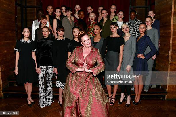 Fashion designer Melanie Fraser Hart poses with models backstage at Callula Lillibelle Presentation during Fall 2013 MercedesBenz Fashion Week at...