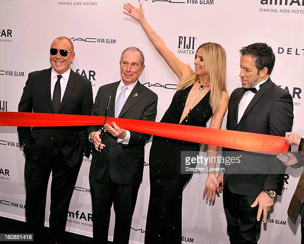 Fashion designer Michael Kors, New York City mayor Michael Bloomberg, supermodel Heidi Klum and Kenneth Cole attend the Mercedes-Benz Fashion Week...