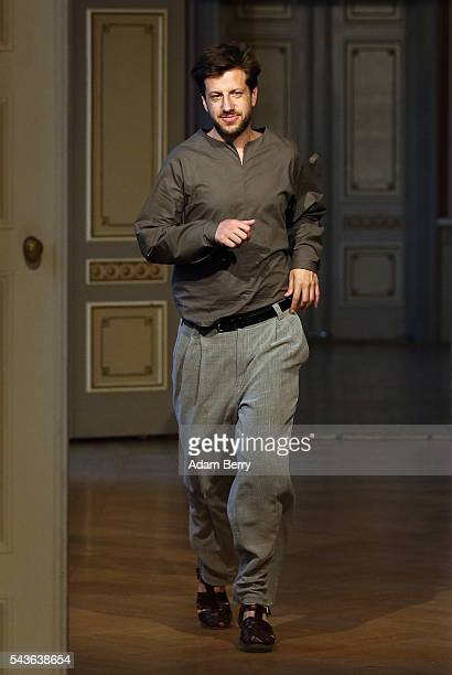 Fashion Designer Michael Sontag poses on the runway at the Michael Sontag show during the MercedesBenz Fashion Week Berlin Spring/Summer 2017 at...